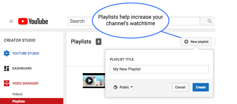 Create playlists on YouTube