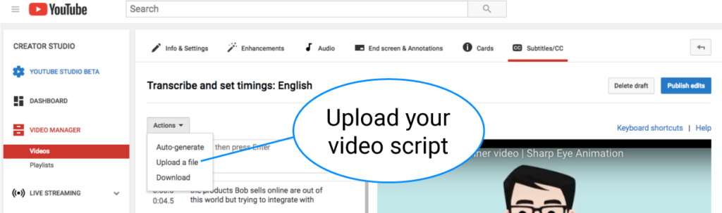 upload video script to youtube