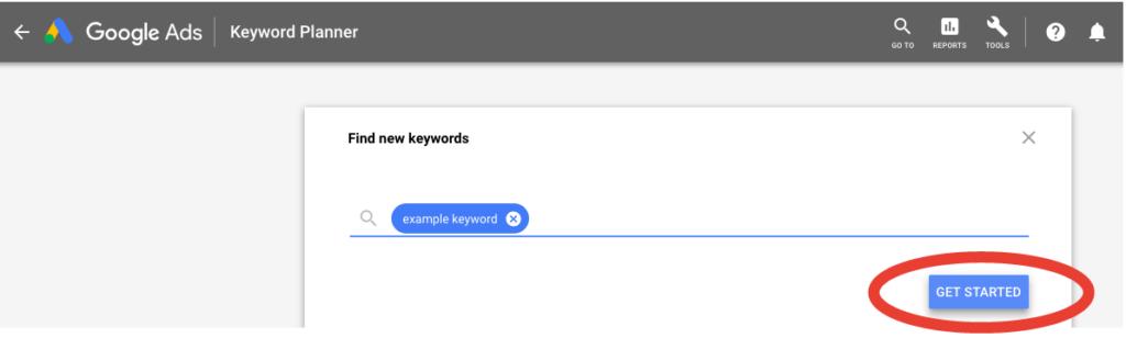 Google keyword planner tool example keyword