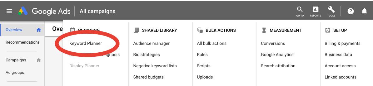 Google keyword planner tool keyword planner