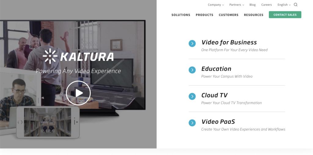 Kaltura homepage