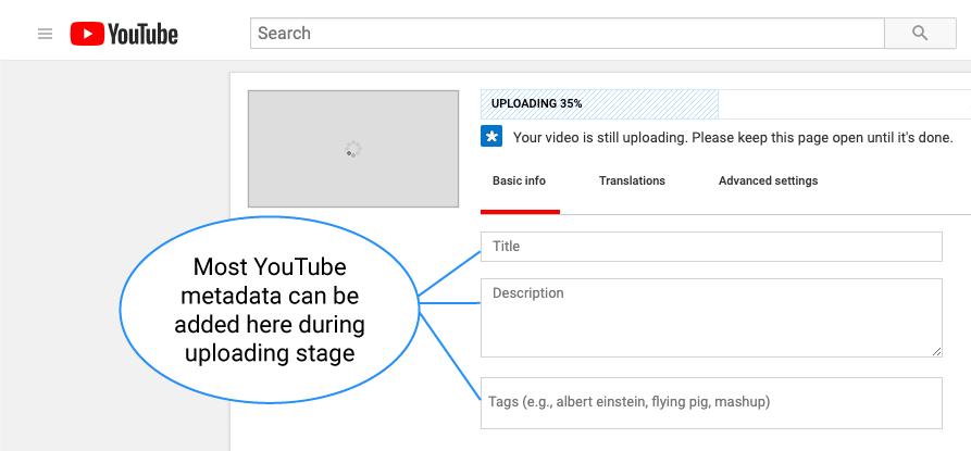 YouTube metadata can be added while uploading (image)