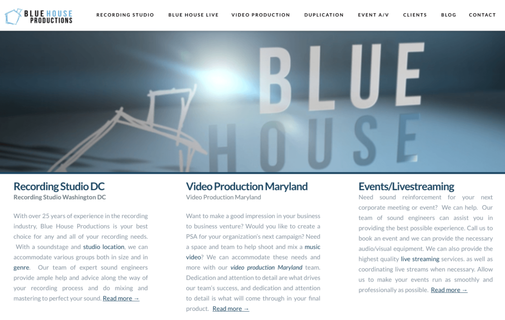 Blue house productions website